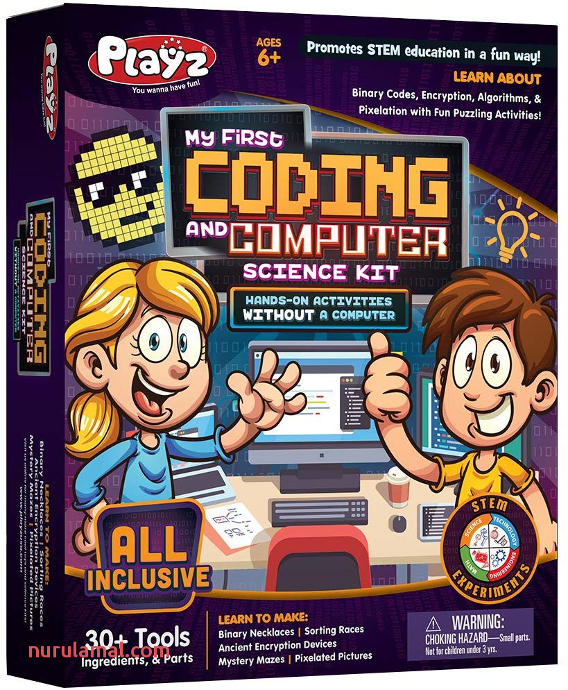 Playz My First Coding & Puter Science Kit Learn About Binary Codes Encryption Algorithms & Pixelation Through Fun Puzzling Activities without