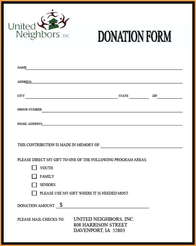 Pledge Card Template Donation Form Example Spitznas.info