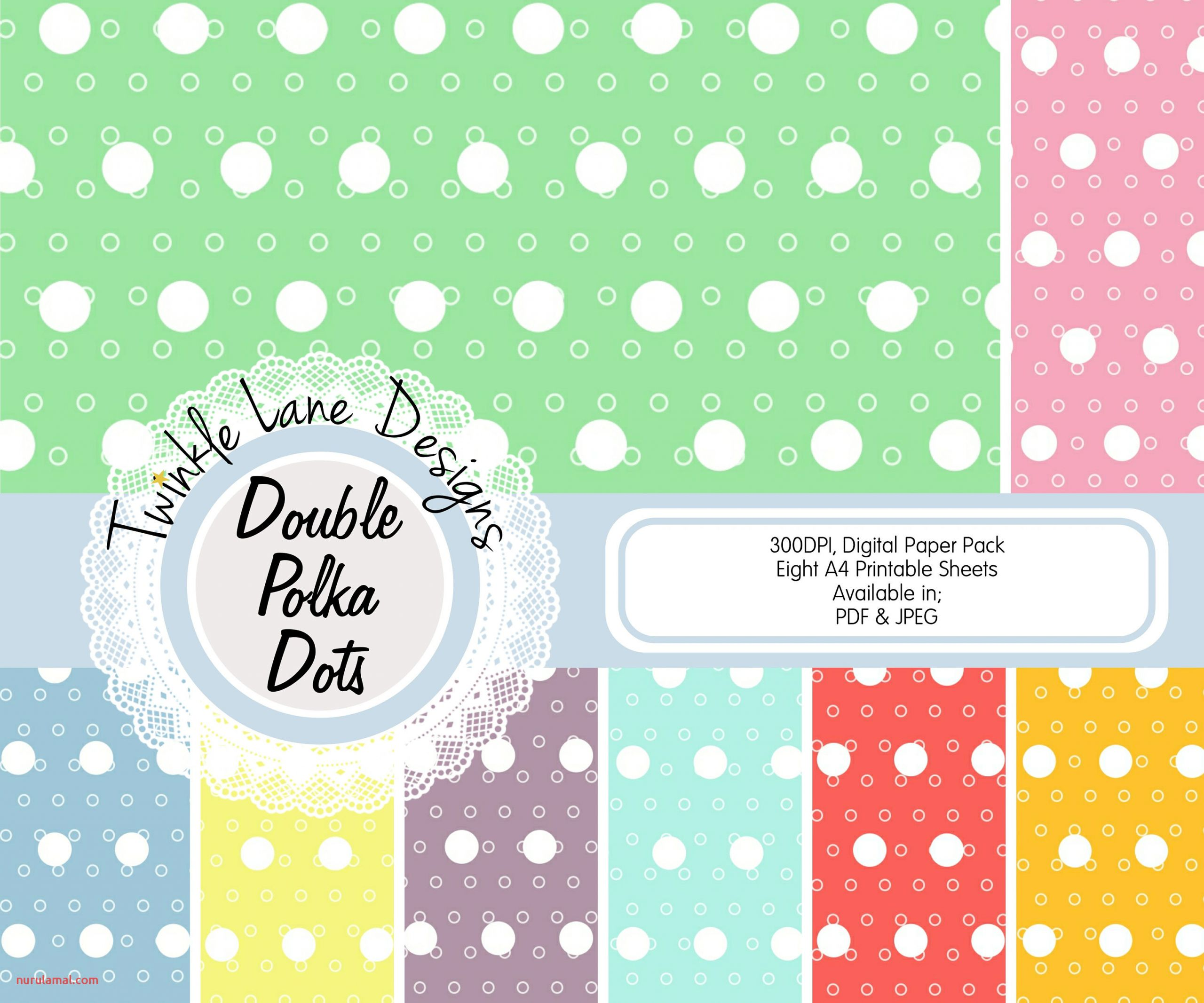 Polka Dots Digital Papers Eight A4 Pages Spots Double Dots Circles Papercraft Kit Papercrafting Paper Papercraft Print Papercraft