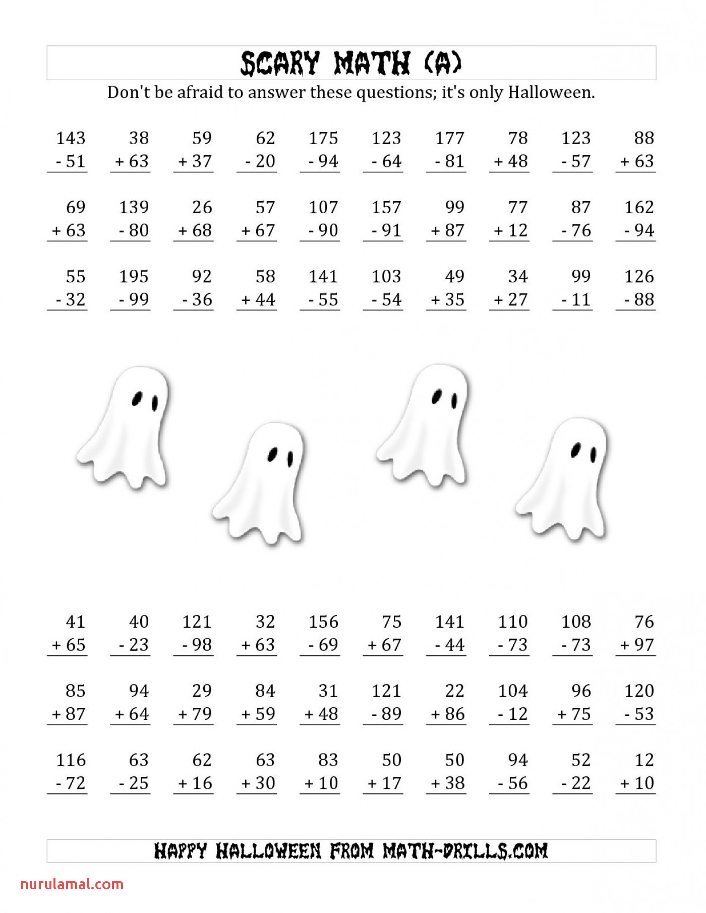 math worksheets collection of printable halloween worksheets 0 double digit 1400x1812