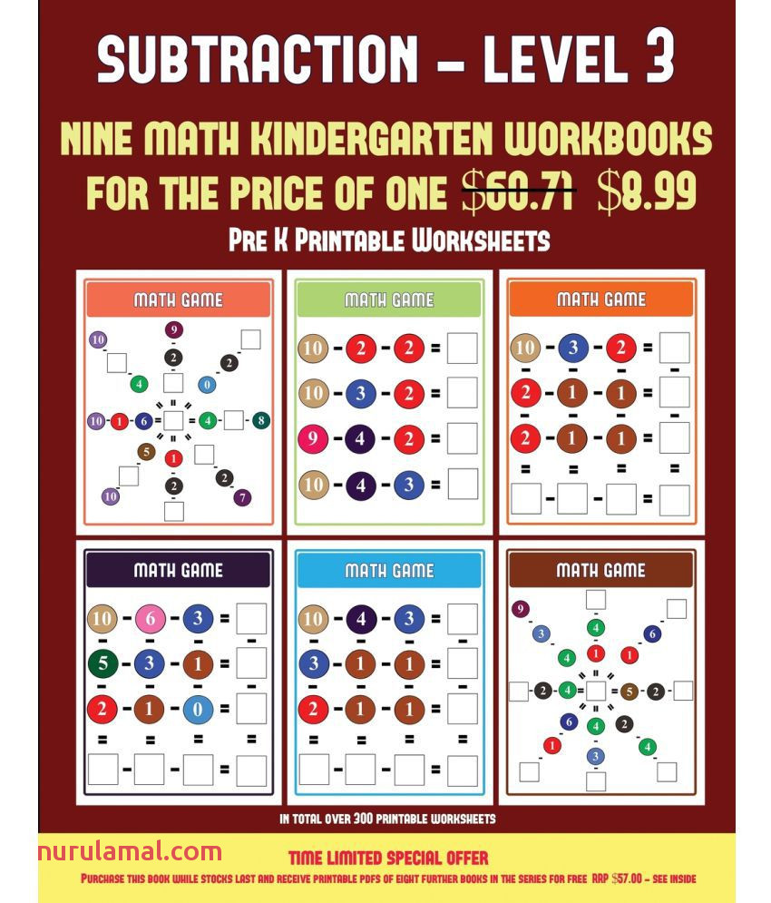 Pre K Printable Worksheets Kindergarten Subtraction Taking Away Level 3