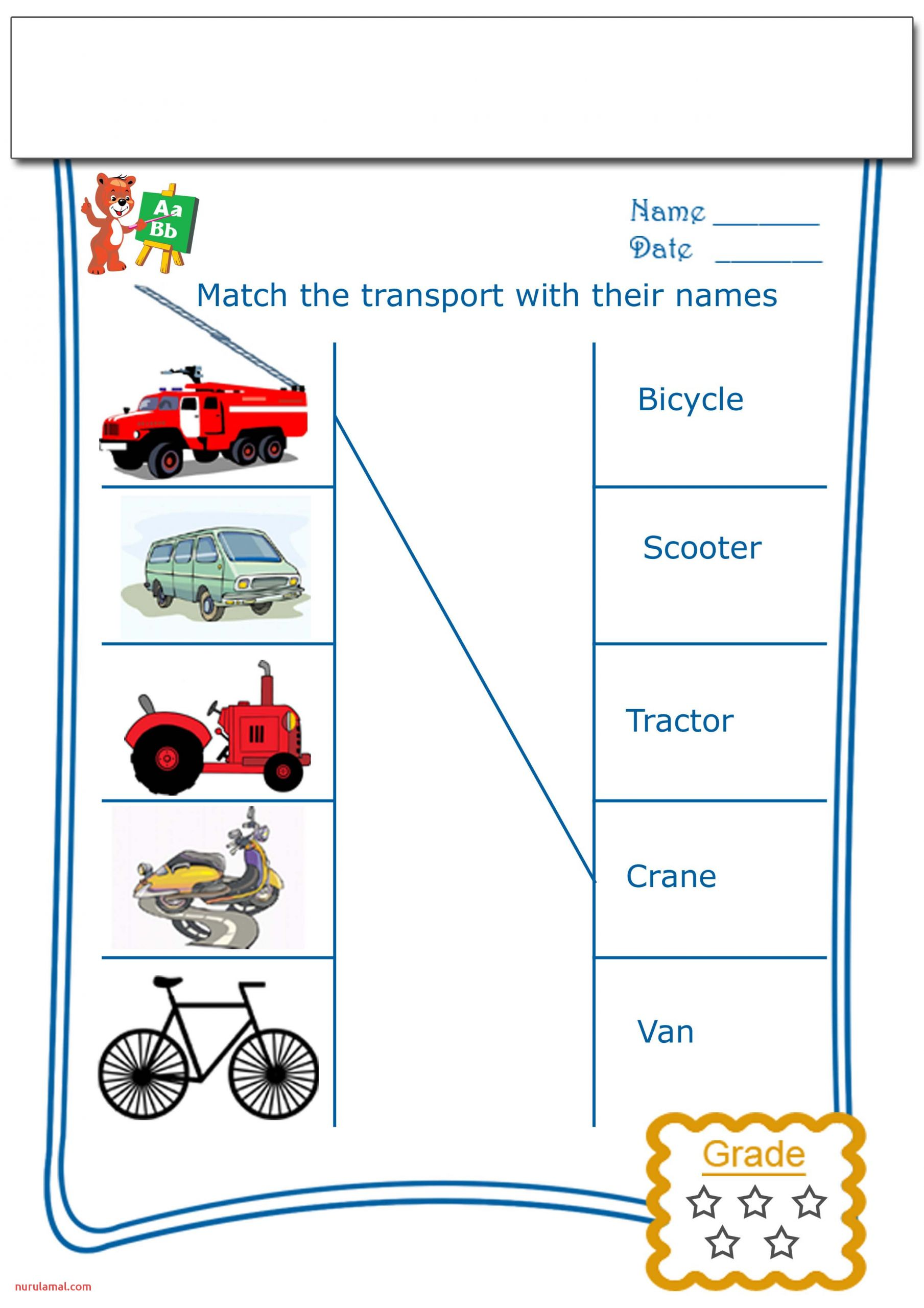 Pre K Worksheets Match the Transports with their Names 2