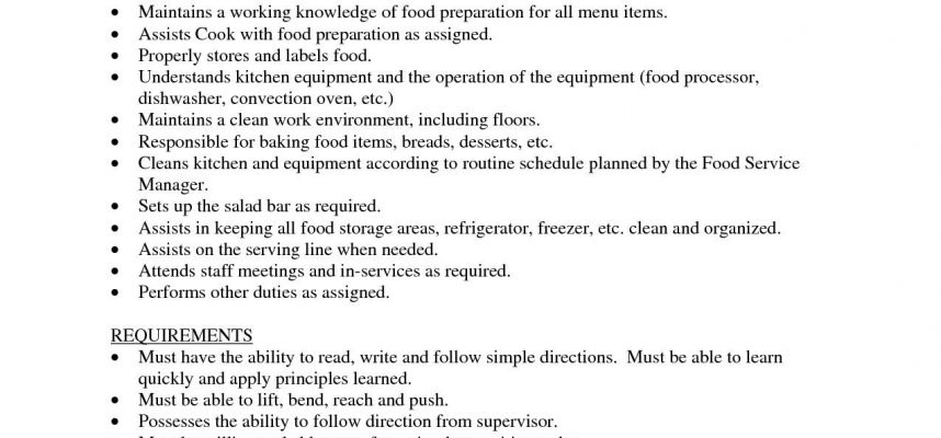 Prep Cook Job Description For Resume Sidemcicek.com