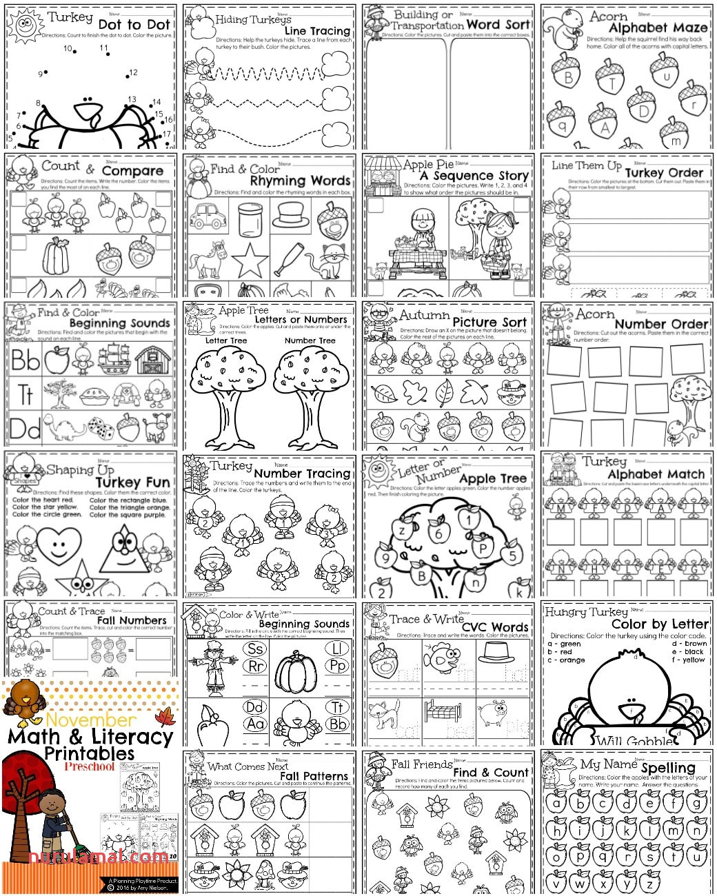 Preschool Worksheets the Year Bundle