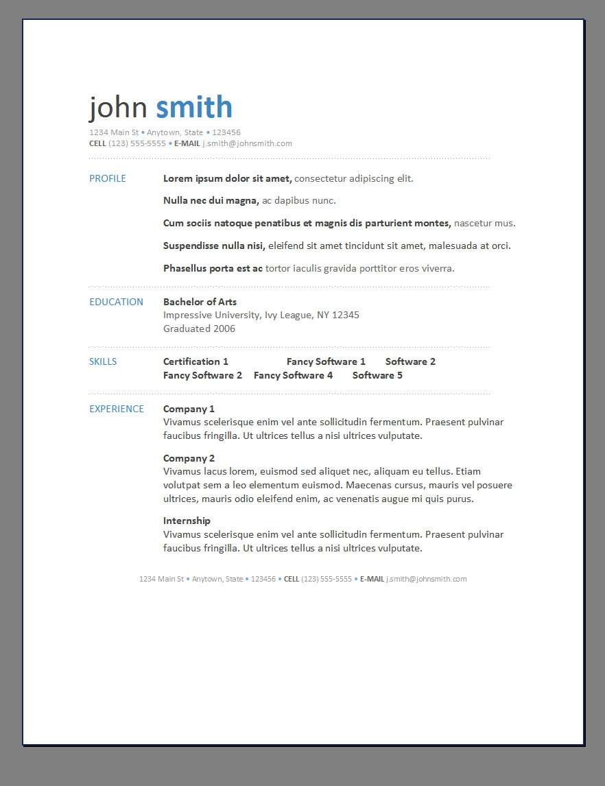Primer S Free Resume Templates Open Resume Templates
