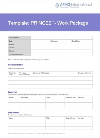 Prince Work Package Template Apmg Business Books