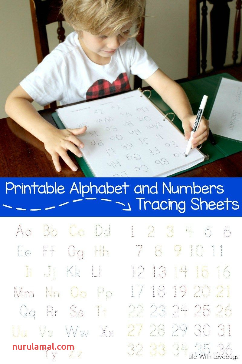Printable Alphabet and Numbers Tracing Sheets