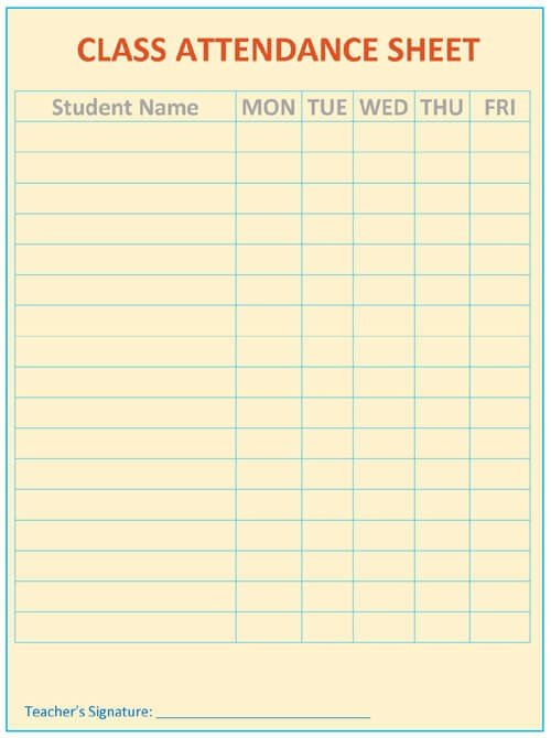 Printable Attendance Sheet Template Word