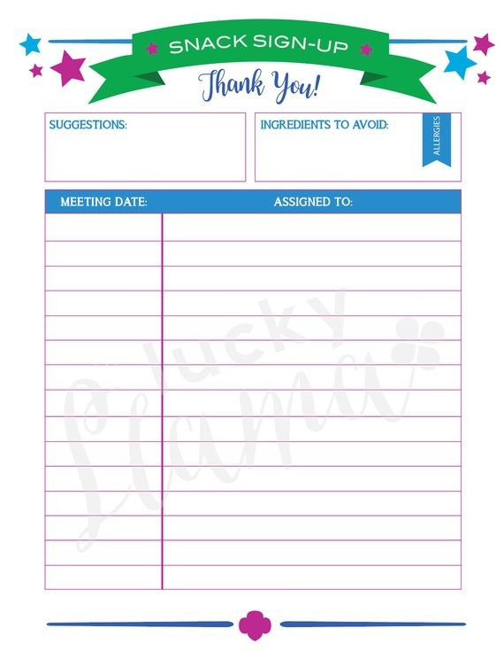 Printable Girl Scout Snack Sign Up Sheet Editable Version