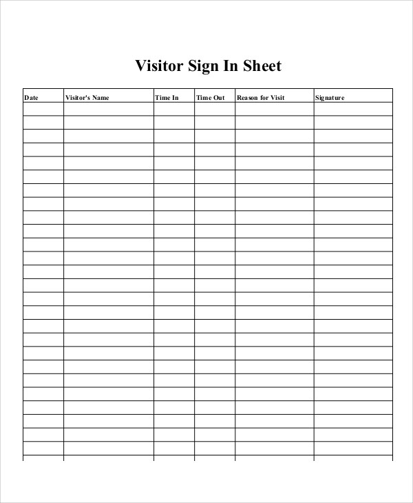 Printable Sign In Sheet Printable Degree