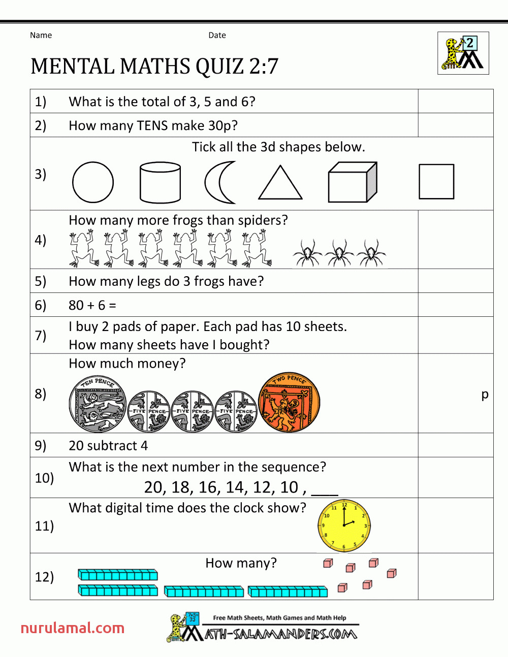 Printable Worksheets for Grade Kids Free Multiplication 2nd