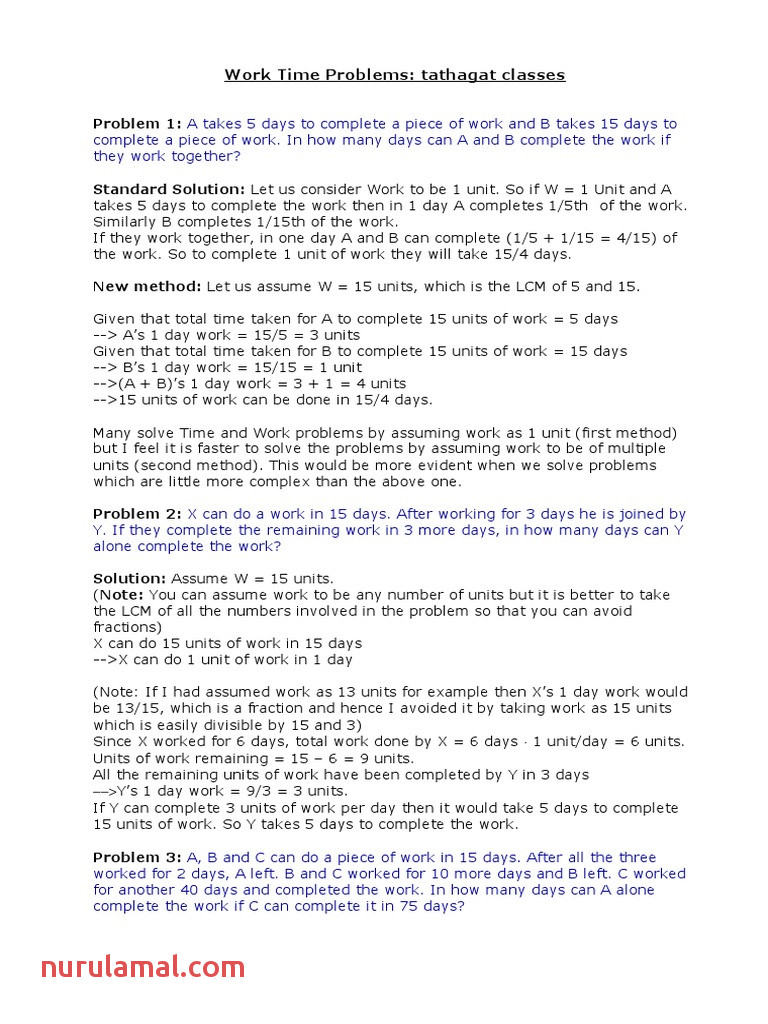 Problems On Time and Work Fraction Mathematics