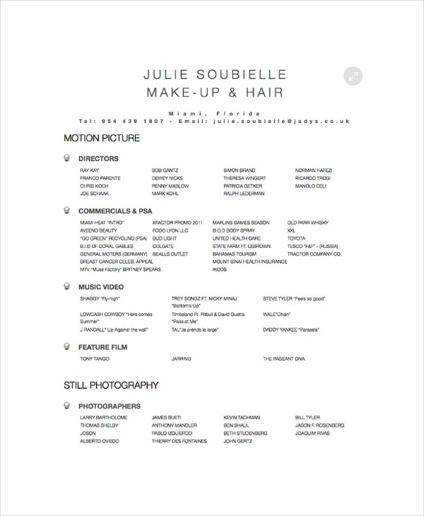 Hairstylist Resume Example