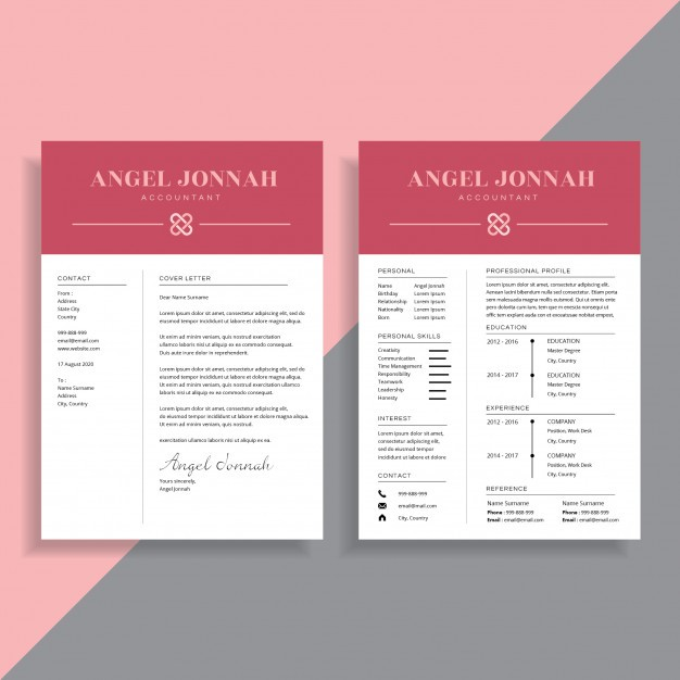 Professional Page Resume Cv Template Design Vector