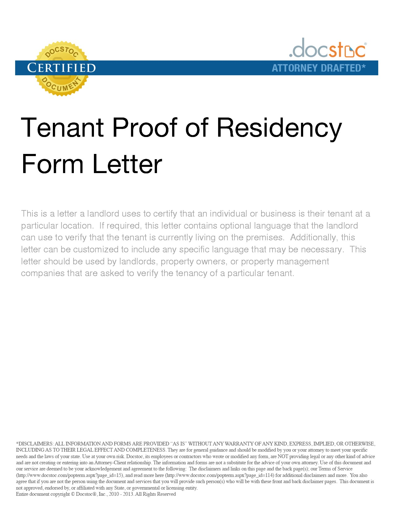 Proof Of Residency Letter Samples
