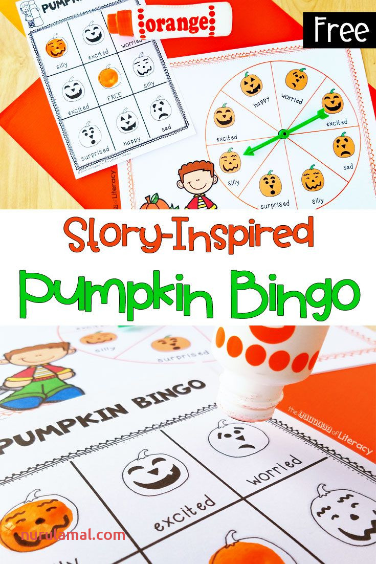 Pumpkin Emotion Words Halloween Bingo Activity for Preschool