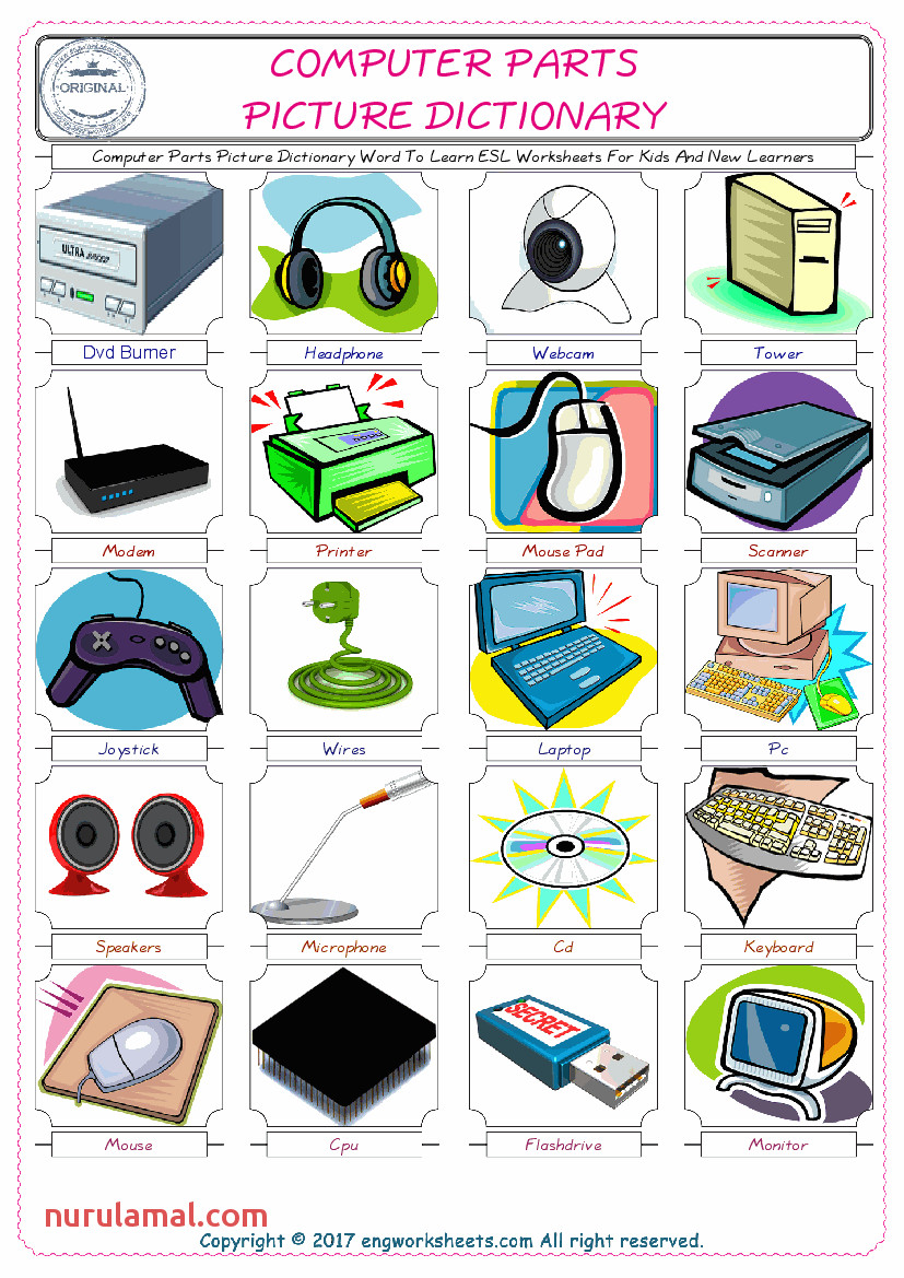 1 puter Parts Picture Dictionary Word To Learn ESL Worksheets For Kids And New Learners