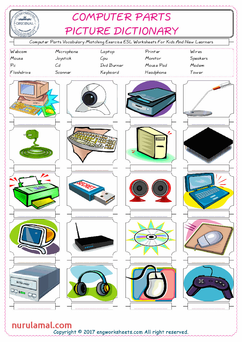 2 puter Parts Vocabulary Matching Exercise ESL Worksheets For Kids And New Learners