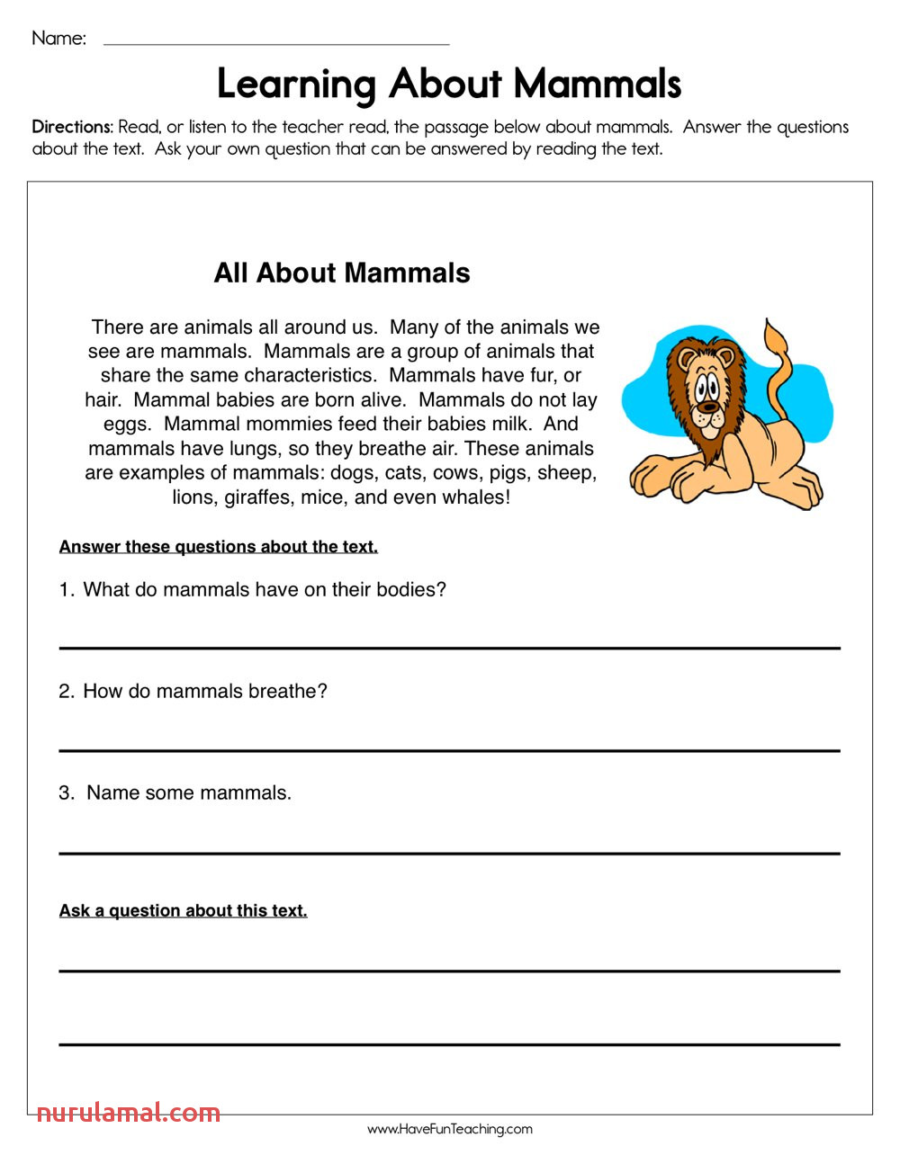 Reading Worskheets Learning About Mammals Worksheet Have