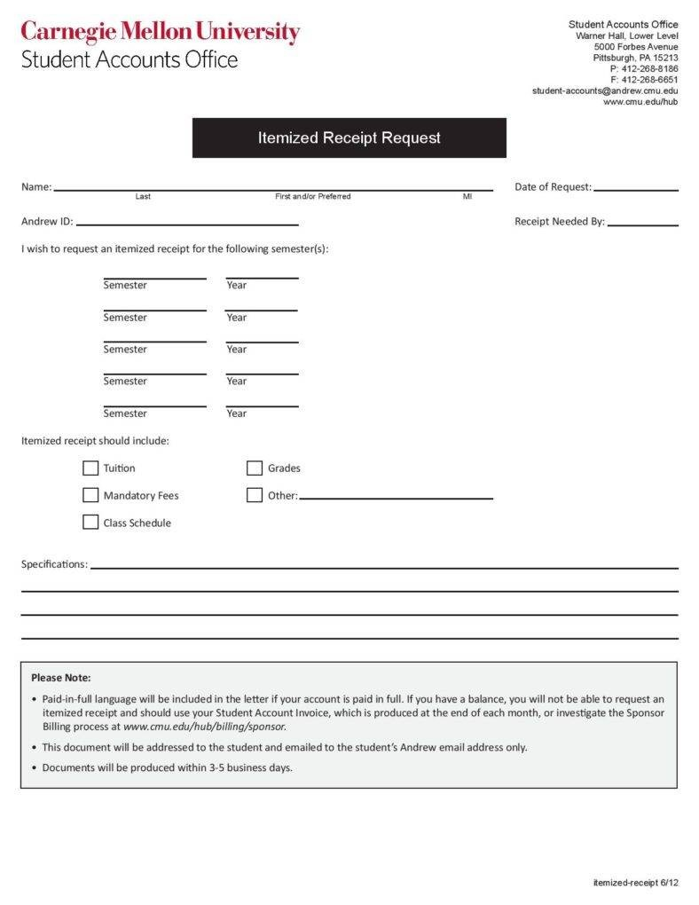 Receipt Itemized Receipt Template