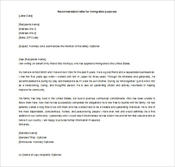Recommendation Letter For A Friend Free Word Excel