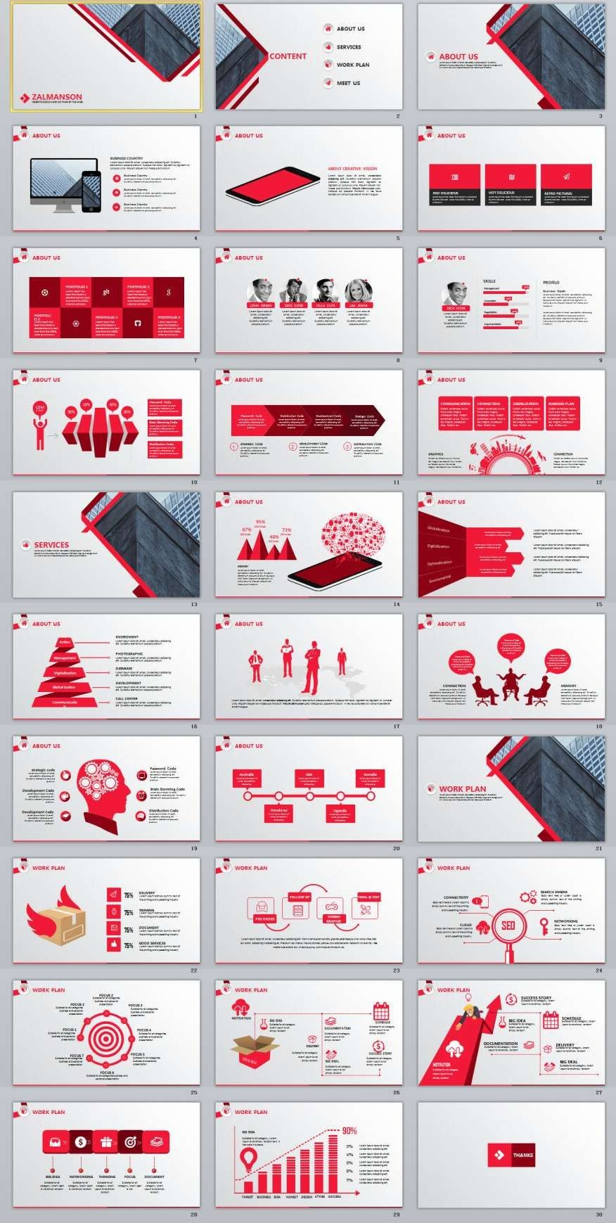 Red Business Report Powerpoint Template Presentation