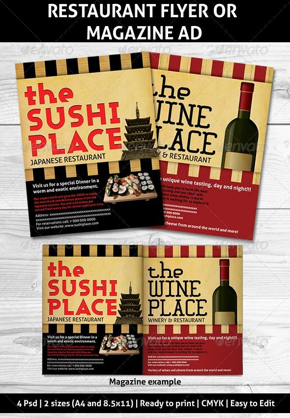 Restaurant Full Page Magazine Ads Or Flyers Template Psd