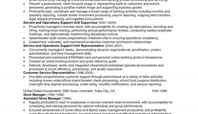 Resume Customer Service Objective Examples Supervisor