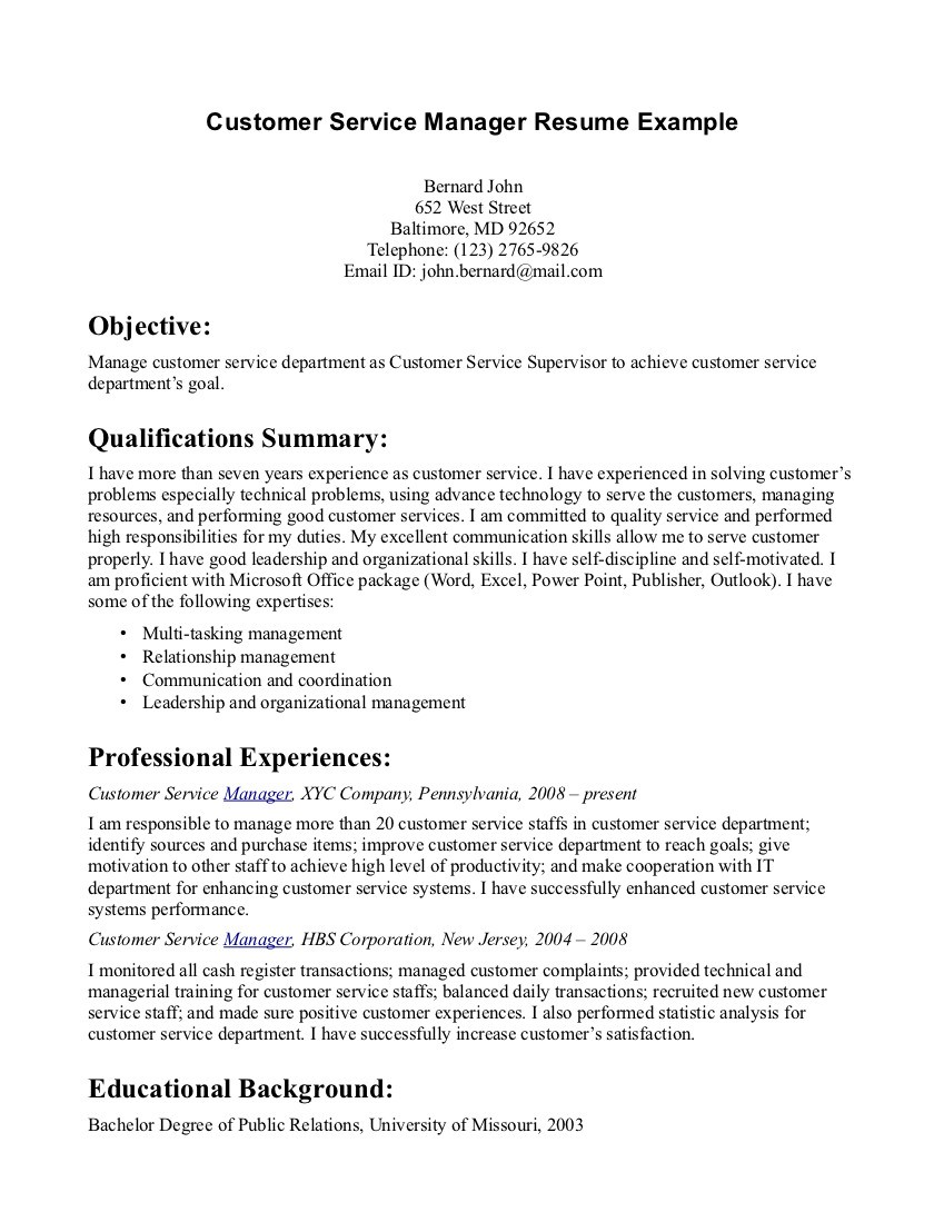 Resume Examples Customer Service Resume Examples