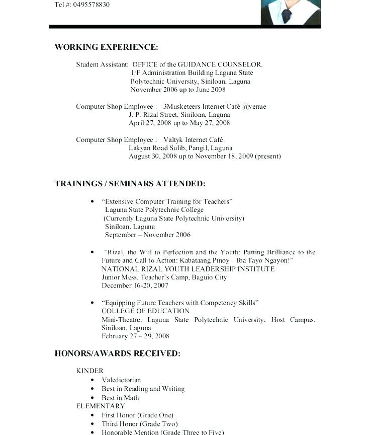 Resume Experience Examples High School Students With No