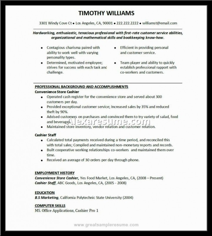 walmart cashier description resume
