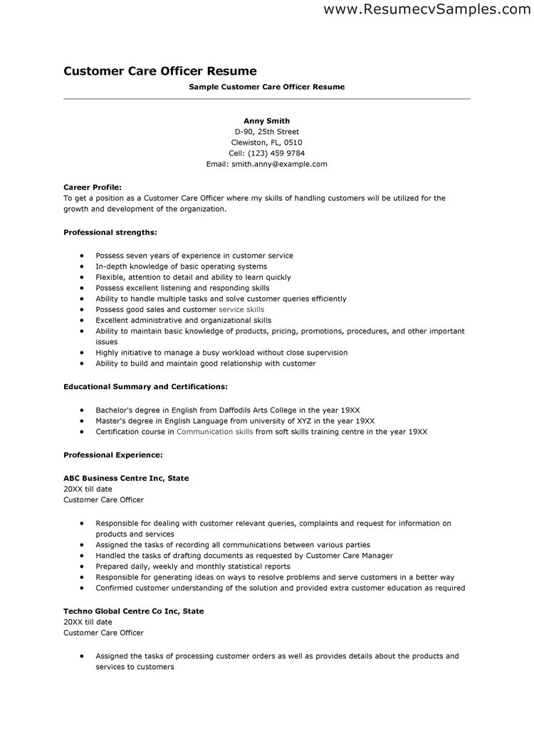 Resume On Customer Service Representative Perfect Resume