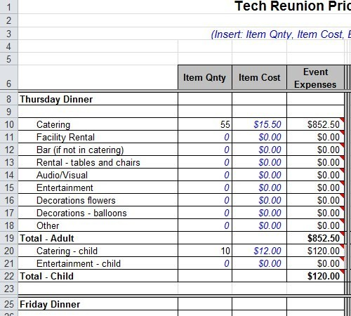 Reunion Budget Spreadsheet Template