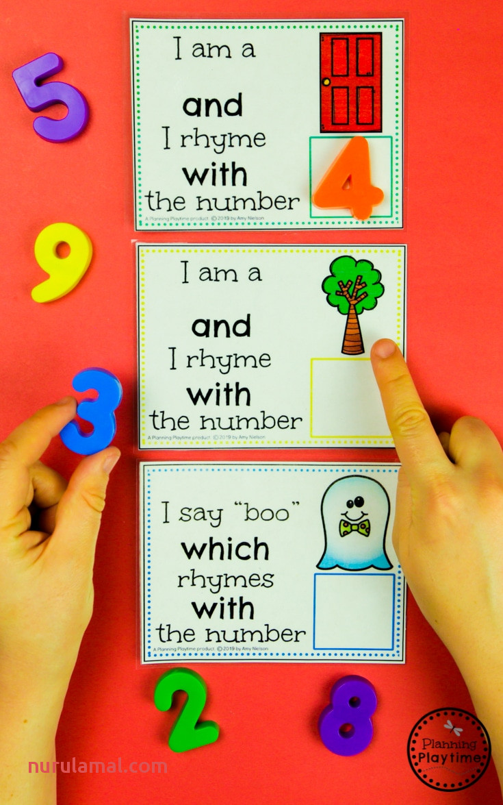 Fun Number Rhyme Cards Rhyming Words for Kids