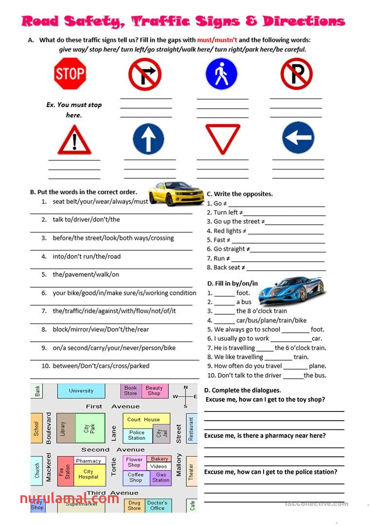 Road Safety Traffic Signs and Directions Worksheet Free