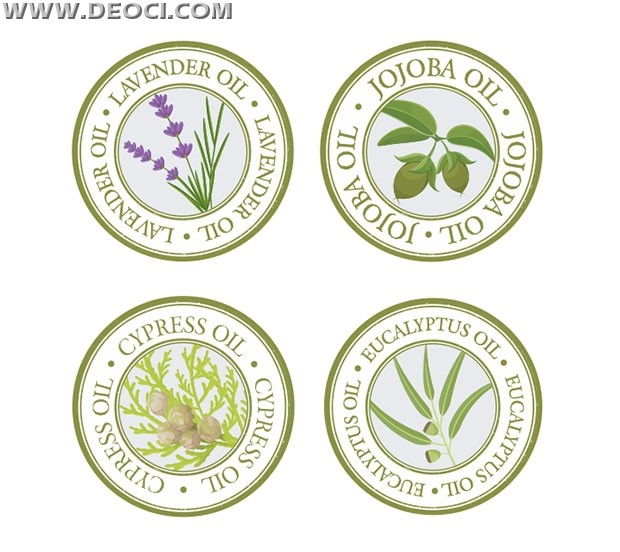 Round Plant Oil Label Design Template Vector Material Cdr