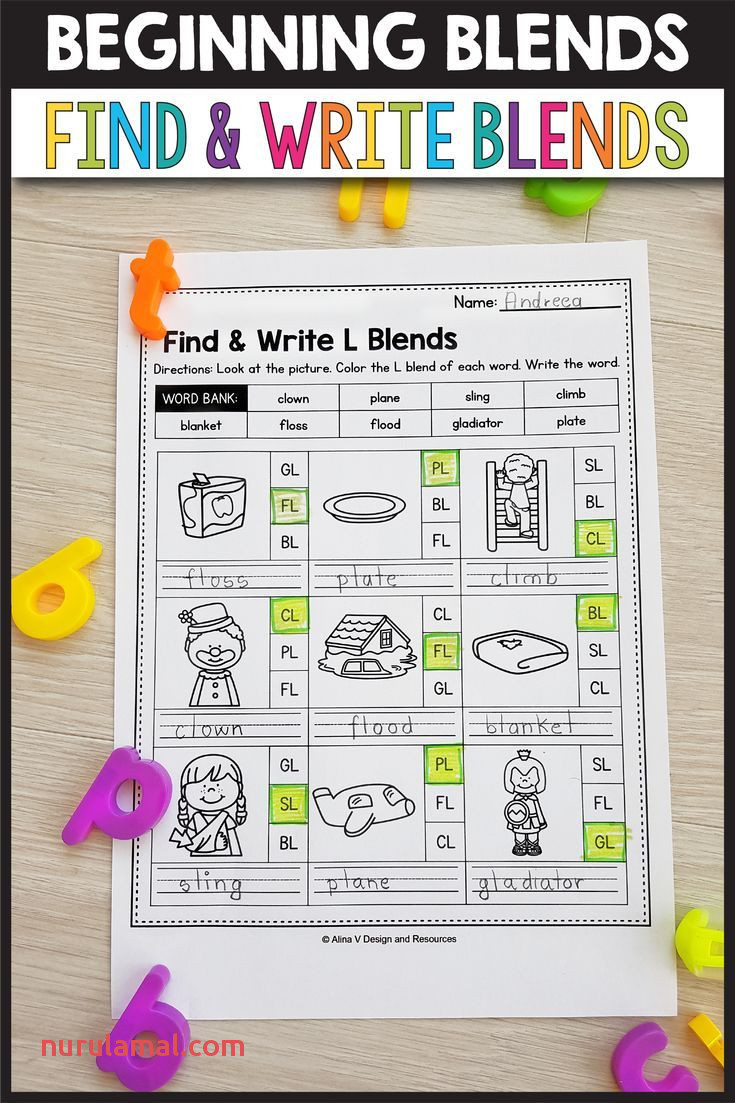 S Blends Worksheets L Blends Activities Find & Write