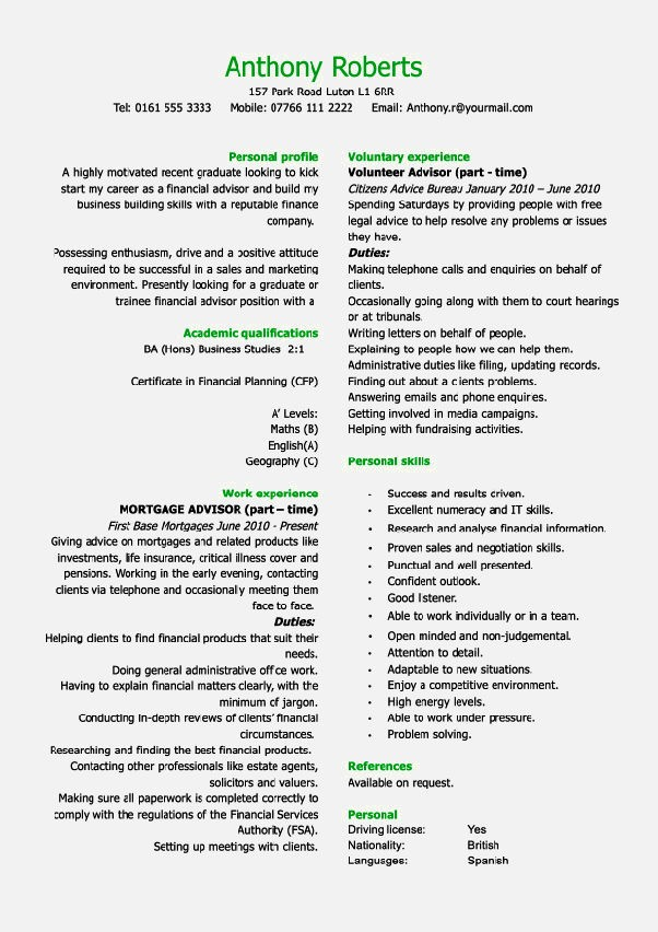Sample Cvs For Year Old Resume Template Cover Letter