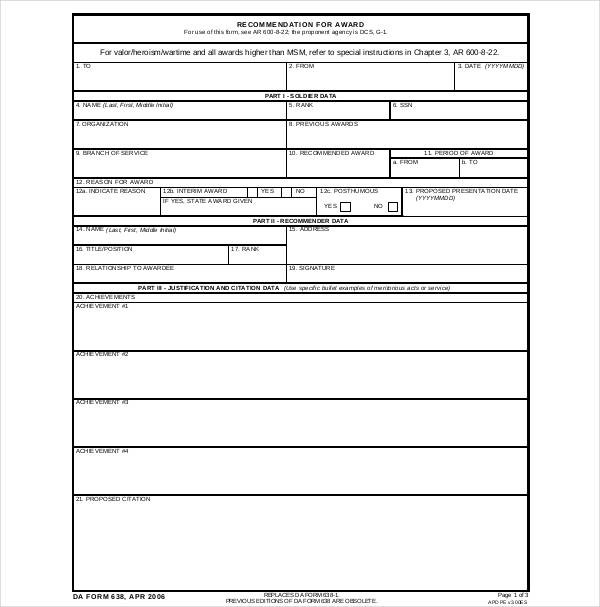 Sample Da Forms Sample Templates
