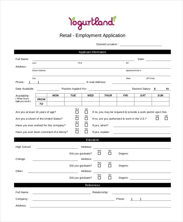 Sample Generic Employment Application Form Free