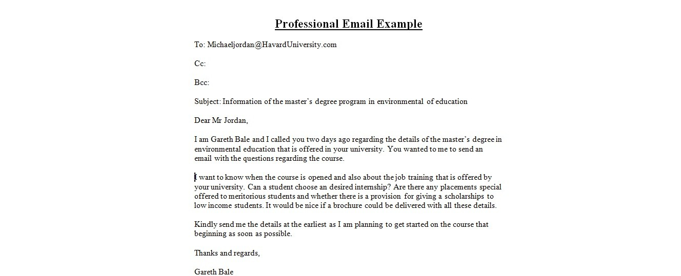 Sample Professional Emailbusiness Letter Examples