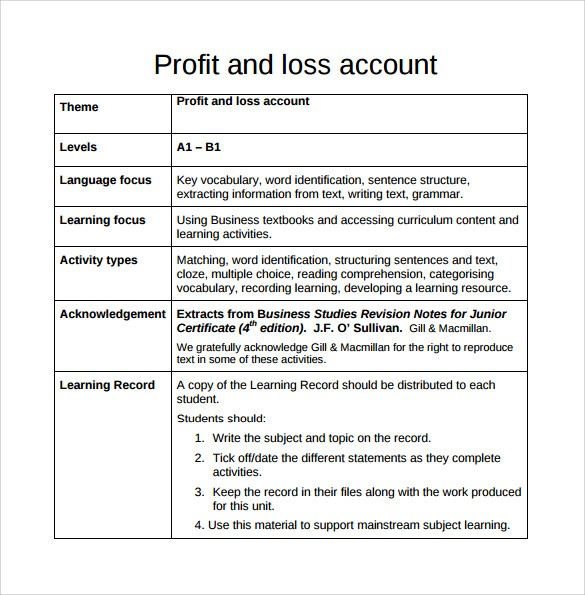 Sample Profit And Loss Templates Sample Templates