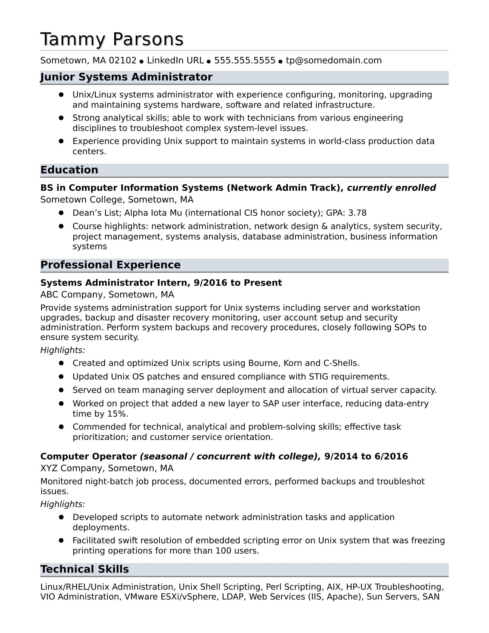 Sample Resume For An Entry Level Systems Administrator