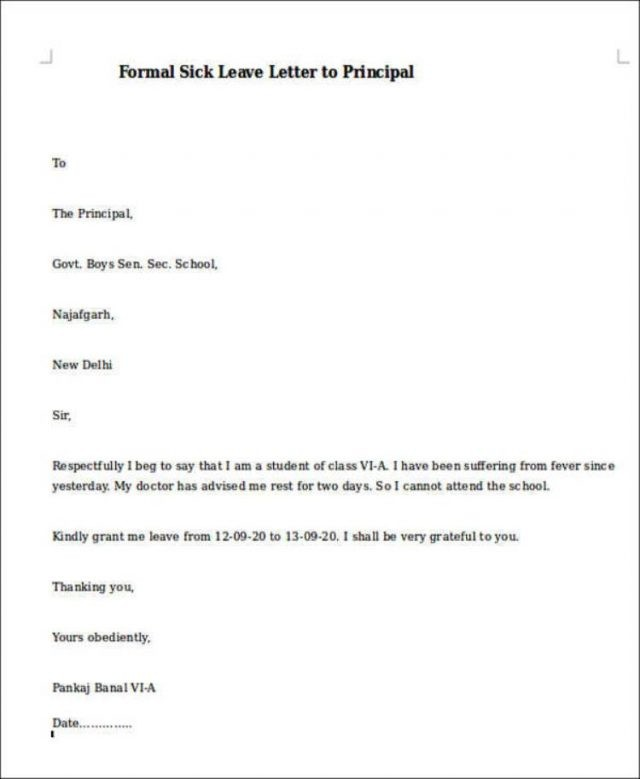 Sample Sick Leave Email Boss Flexible Pictures Letter