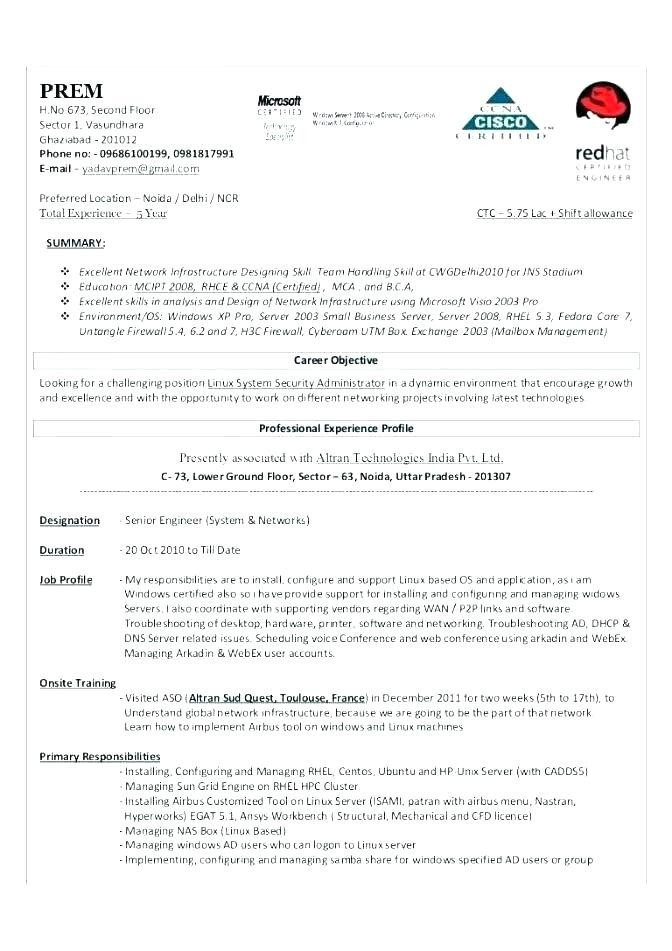 Sample System Administrator Resume Sample Systems