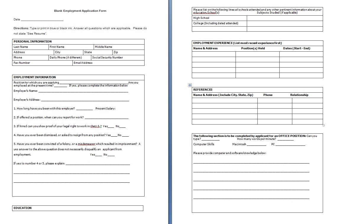 Blank Employment Application Template