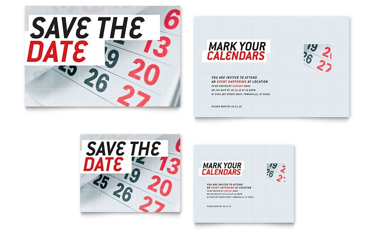 Save The Date Note Card Template Word Publisher