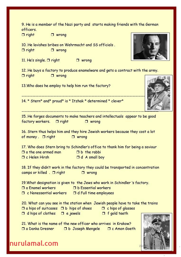 Schindler S List Part 1 English Esl Worksheets