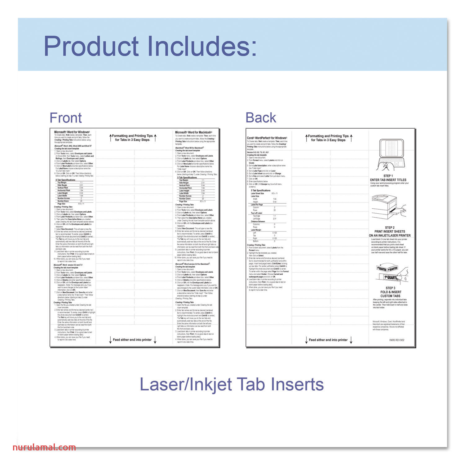 """Sheet Protectors with Index Tabs Heavy Clear Tabs 2"""" 11 X 8 1 2 5 St"""