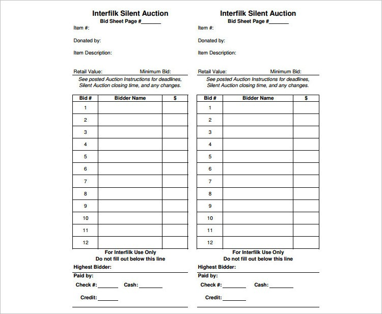 Silent Auction Bid Sheets Printable